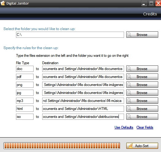 Organización automática archivos según su extensión