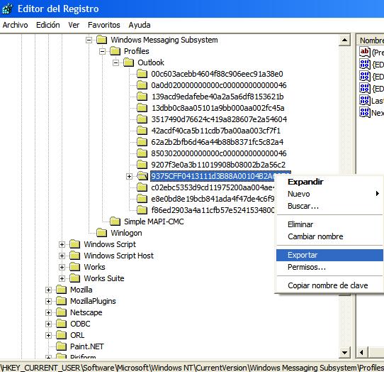 Exportar configuración de cuentas en Outlook