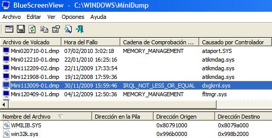 Significado de pantallazos azules en Windows