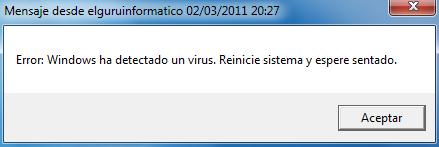 Ejecutar mensaje falso de error en Windows
