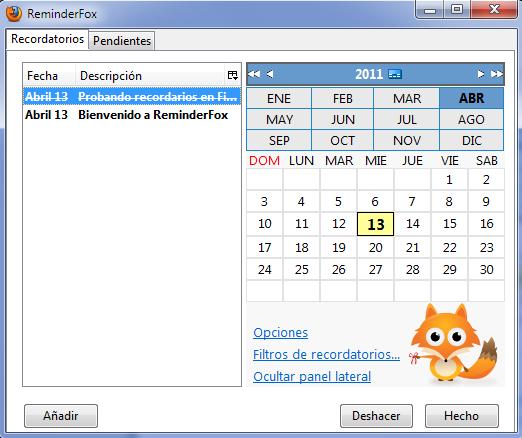 Recordatorios y calendario para Firefox
