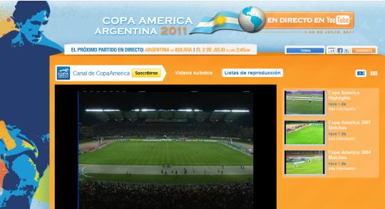 La Copa América desde Youtube