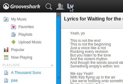 letra de musica en grooveshark