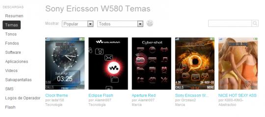 temas y otras descargas Sony W580