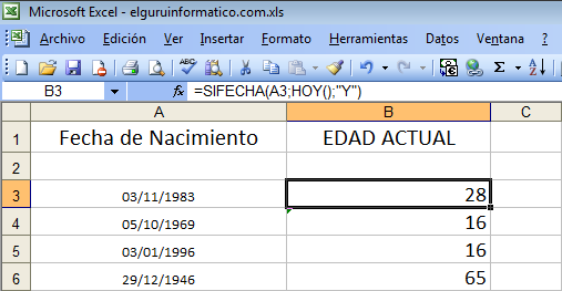 Fórmula de Excel para calcular edad