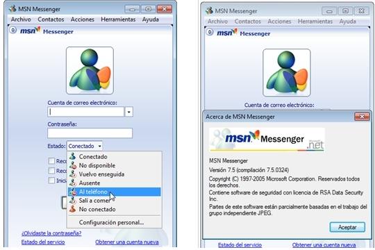 Descargar el viejo Messenger 7.5