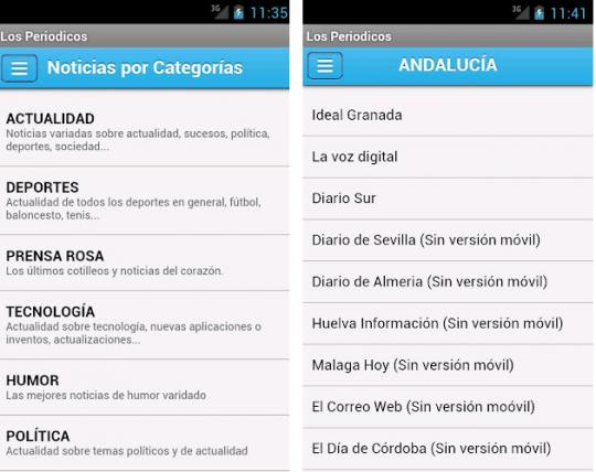 Aplicación para Android con los periódicos de España