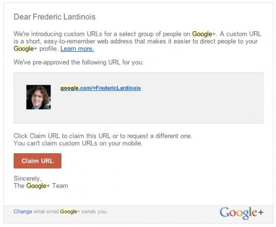 URL de perfil personalizada en Google Plus