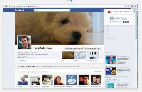 Desactivar el Timeline de Facebook en Google Chrome