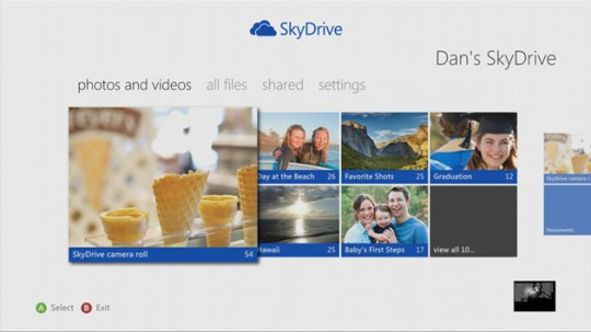 Skydrive disponible para Xbox 360
