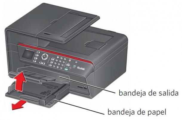 Carga papel en la impresora