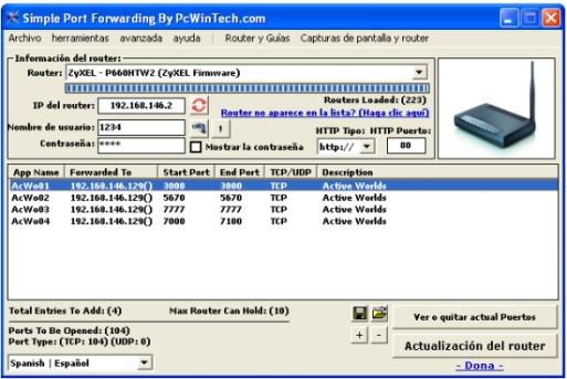 Abrir puertos del router