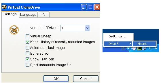 Monta imágenes como unidades virtuales