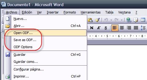 Abrir desde Office los documentos de OpenOffice