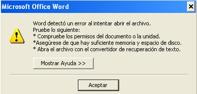 error al intentar abrir el archivo corrupto de Word