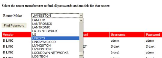claves por defecto routers