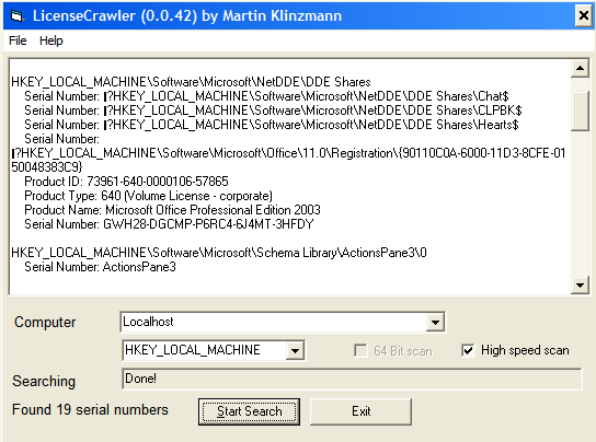 licensecrawler rastrea el registro en busca de seriales