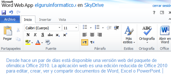 Office web gratis