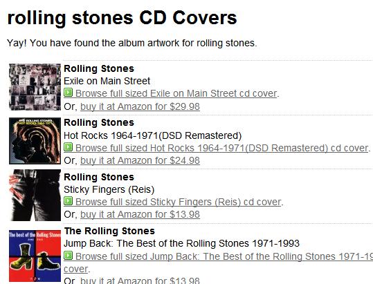 Buscadores para portadas de discos y películas