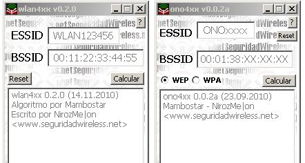 Sacar las Claves WEP/WPA por defecto