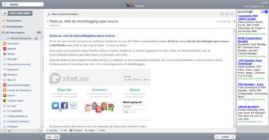 Aplicación WebReader para leer los feed rss
