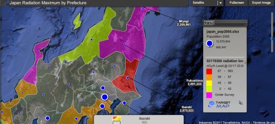 Mapa online con los niveles de radiación