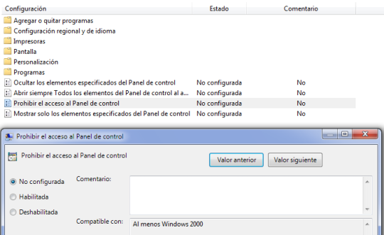 desactivar panel de control en Windows 7