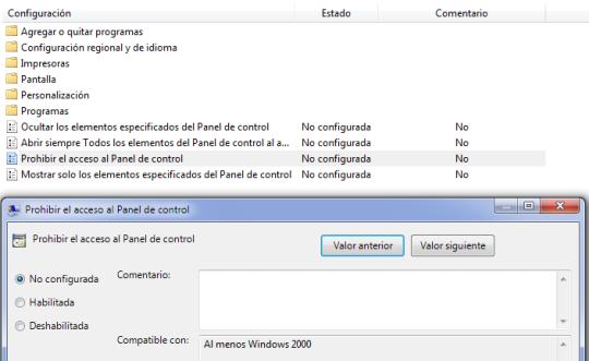desactivar panel de control en Windows 7