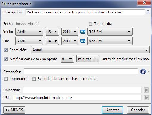 aviso de tareas en Firefox