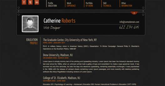 Modelo de Curriculum Vitae para web (html)