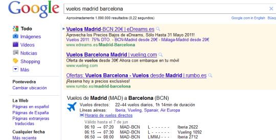 Búsqueda de vuelos y horarios con Google