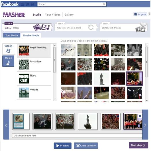 Crear vídeos con fotos de Facebook