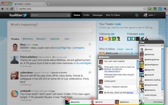 Chat entre usuarios de Twitter con Bonfire