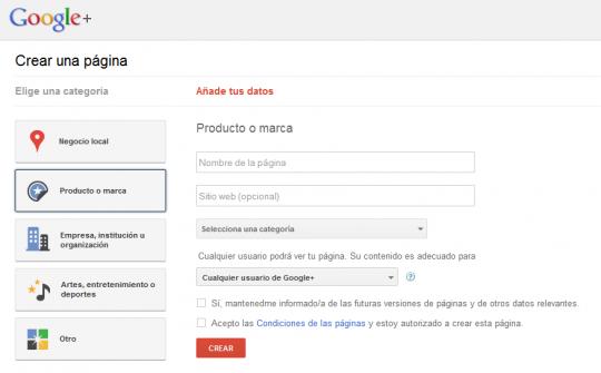Perfiles para empresas o marcas en Google +