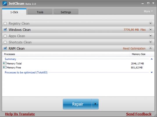 Puesta a punto de Windows con JetClean