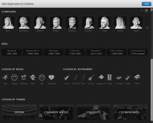 Música clásica online con Classify