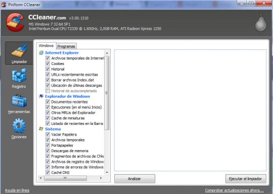 Limpia rastros de navegación con CCleaner