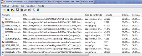 Ver y examinar la caché de Chrome