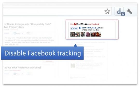 Limita la presencia y el seguimiento de Facebook