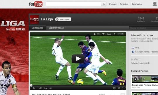 La Liga de Fútbol de España desde Youtube