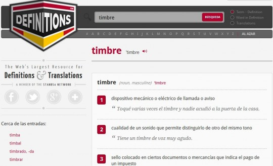 Definitions, un completo diccionario online en Español