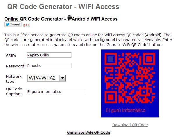 Convertir clave del WiFi en código QR