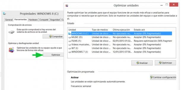 Aumentar el rendimiento del disco duro en Windows 8