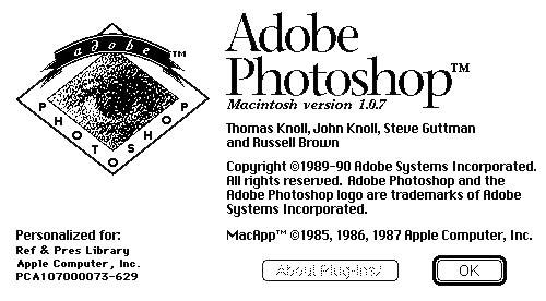 El primer Photoshop pieza de museo