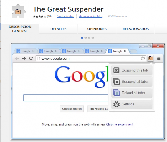 Libera memoria de Chrome suspendiendo pestañas