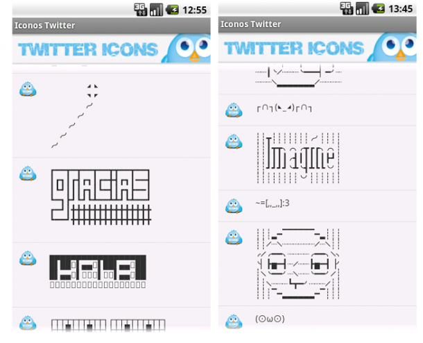 Algunos iconos y símbolos para Twitter