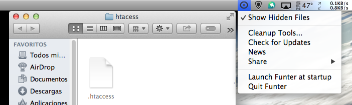 hunter para ver y ocultar archivos ocultos en mac os
